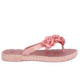 Flip flops cu flori roz YJL-1818 roz