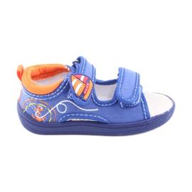 Sandale pentru copii albastre American Club TEN36 albastru portocale