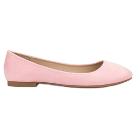 Small Swan roz Pink Suede Ballerina