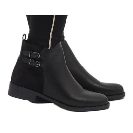 Ideal Shoes Negru elegant C-7200 cizme