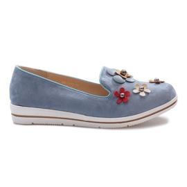 Albastru Tocuri cu pantaloni multi flori albastre