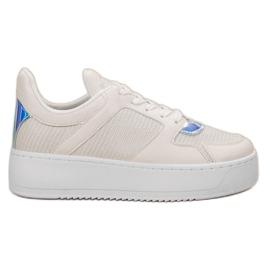 Ideal Shoes alb Adidași cu Brocade