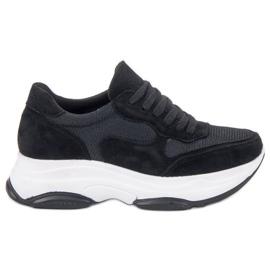 Ideal Shoes negru Adidași negri ușori
