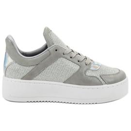 Ideal Shoes gri Adidași cu Brocade