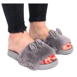 Flip-flops cu blană Uszka HN53-9 Gri