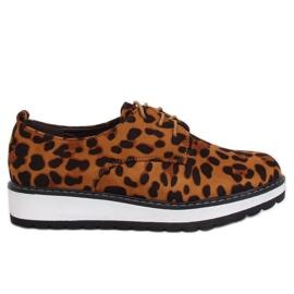 Mocasini pentru leopard pentru femei C-7225 Print Leopard maro