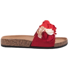 SHELOVET roșu Papuci cu flori