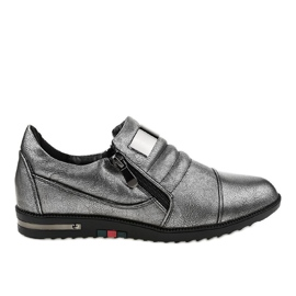 Pantofi gri cu fermoar H034