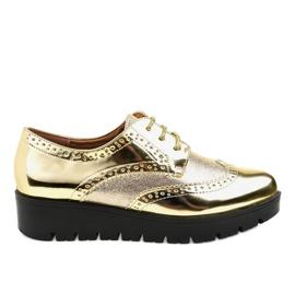 Galben Pantofi din dantelă din aur TL-60