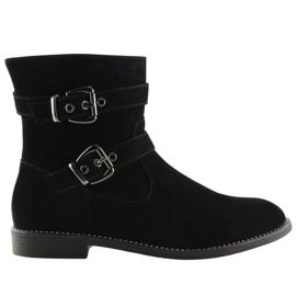 Flat cizme negre MB188-266 Negru