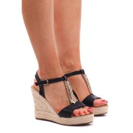 Sandale cu fustă Espadrilles PT1258 Negru