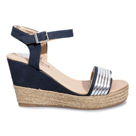 Bleumarin Sandale negre pe gama delicată Glam Shine