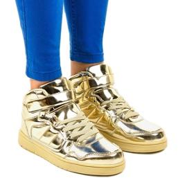 Pantofi lacați aurii XW7082 galben