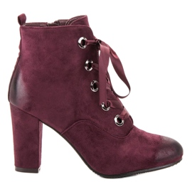 Vinceza Cizme de piele de Burgundie roșu