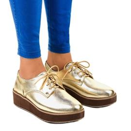 Pantofi eleganti din dantelă aurii 2017-1 galben