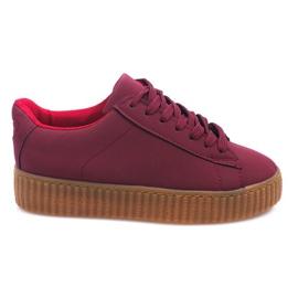 Cizme de cizme de pe platforma AM-1101 roșu