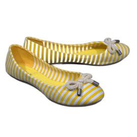 Balerine cu dungi cu arc galben de 16-C