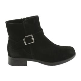 American Club Cizme negre din piele neagră de culoare americană SH04 negru