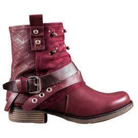 SHELOVET Cizme cu pietre roșu