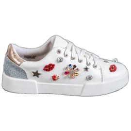 Bestelle alb Pantofi sport cu patch-uri