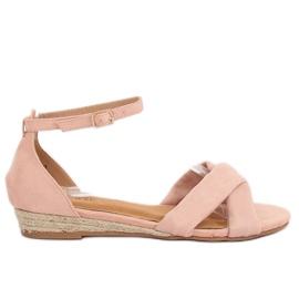 Sandale cu espadrile roz 9R121 Pink II-GAT