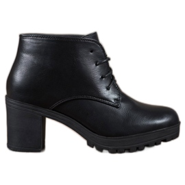 SHELOVET negru Cizme de gleznă cu platformă din dantelă