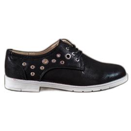 SHELOVET negru Pantofi legați cu piele ecologică