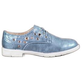 SHELOVET albastru Pantofi legați cu piele ecologică