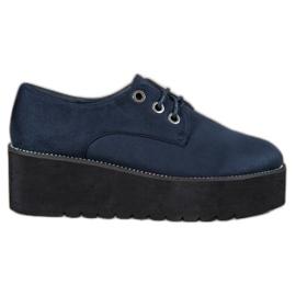 SHELOVET albastru Pantofi din piele de căprioară de pe platformă