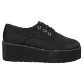 SHELOVET Pantofi din piele de căprioară de pe platformă negru