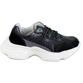 Vinceza negru Pantofi sport plictisiți