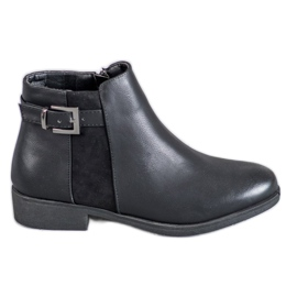 Abloom negru Boots On Flat Heel