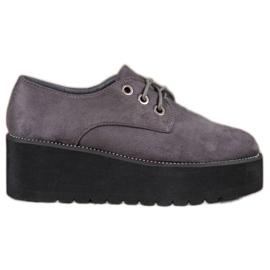 SHELOVET gri Pantofi din piele de căprioară de pe platformă