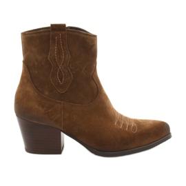 Cizme cowboy Gamis 3837 din piele de căprioară maro