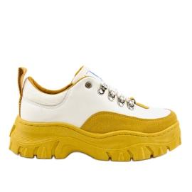 Încălțăminte sport albă și galbenă la modă pentru femei PF5329