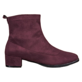 Small Swan Slip-on Boots Suede roșu