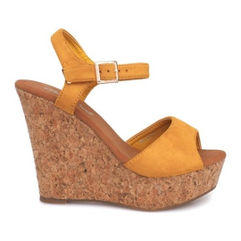 Sandale cu pană Cork 5H5654 Galben