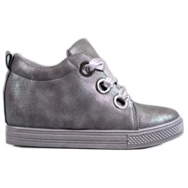New Tlck Pantofi legați cu o panglică gri
