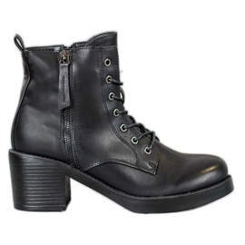 SHELOVET Cizme de gleznă dantelate negru