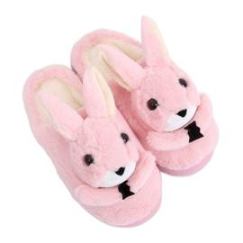 Papuci de femei iepurași roz deschis MA17 roz