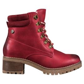 Goodin Cizme roșii cu piele de oaie roșu