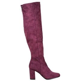 Goodin Cizme din piele de căprioară violet