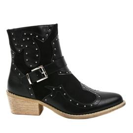 Cizme negre pe cizme cowboy 88113 negru