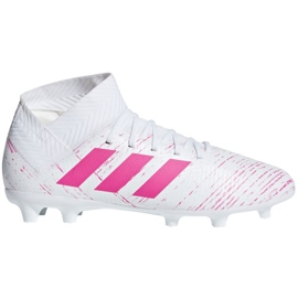 Pantofi de fotbal Adidas Nemeziz 18.3 Fg Jr CM8506 alb, roz alb