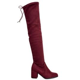 Ideal Shoes Suede coapse roșu