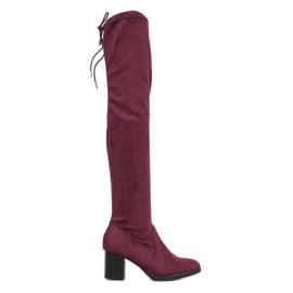 SHELOVET Suede cizme peste genunchi roșu