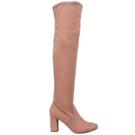 Corina Cizme elegante peste genunchi roz