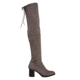 SHELOVET Suede cizme peste genunchi gri
