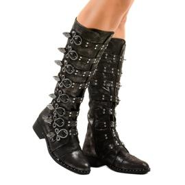 Cizme negre bogat decorate NC271 negru