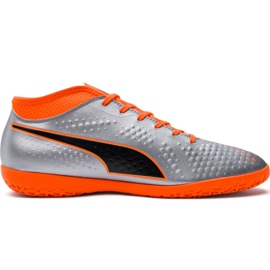 Cizme de fotbal M Puma One 4 Syn It 104750 01 argint orange, gri / argintiu